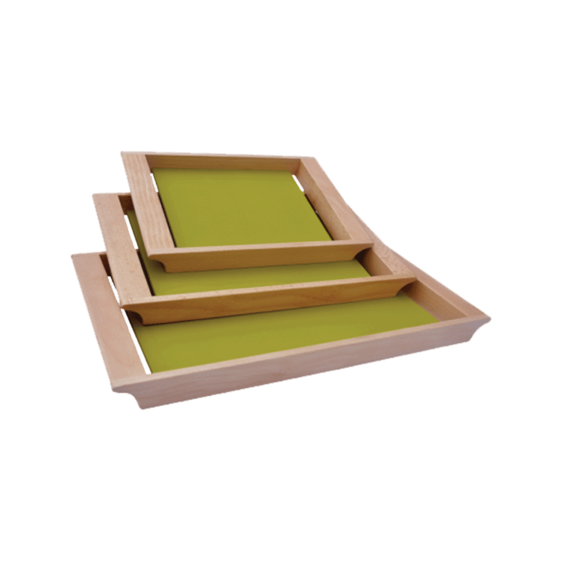 Wood rectangular tray B green