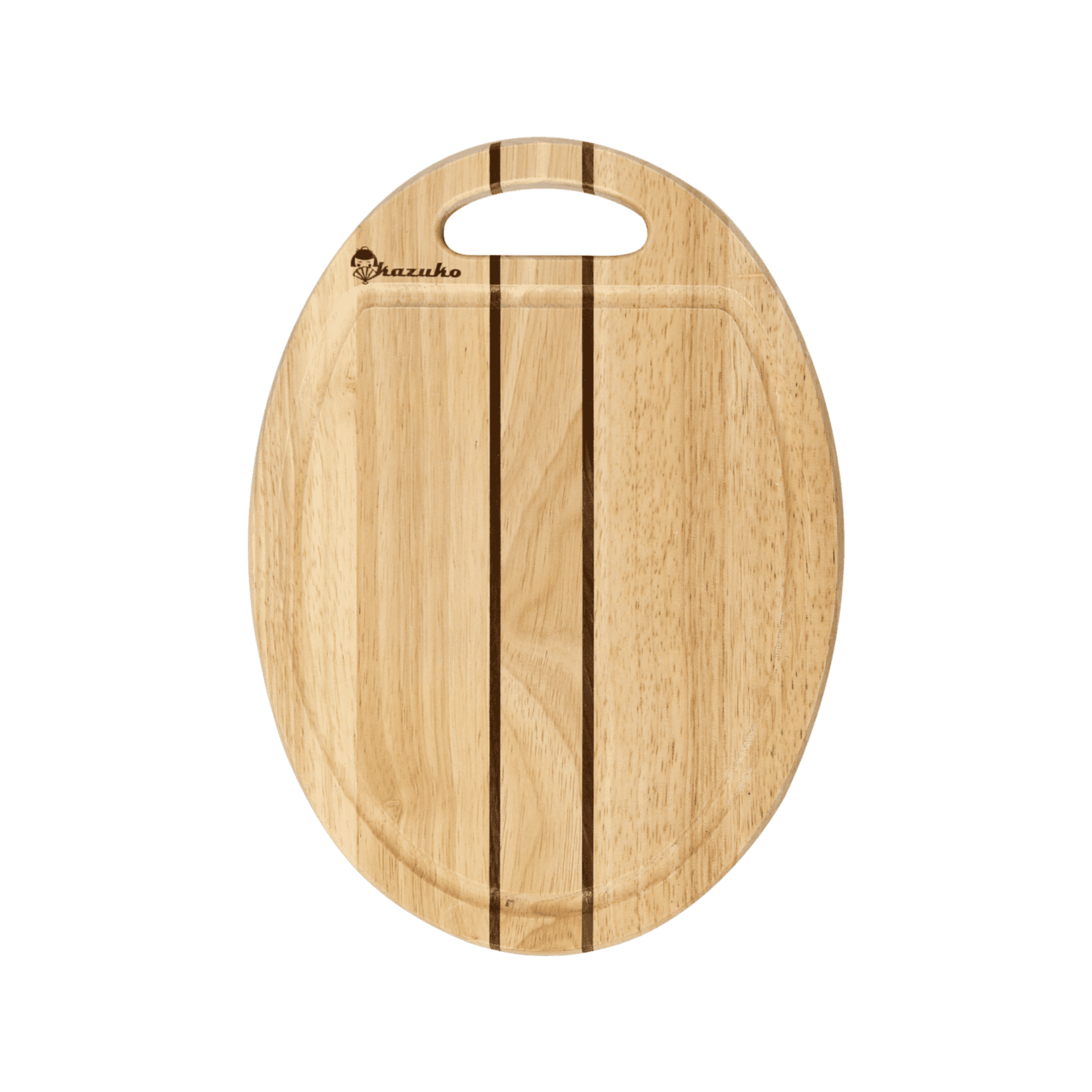 Oval striped cutting boards with grooves